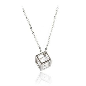 Cube crystal silver necklace